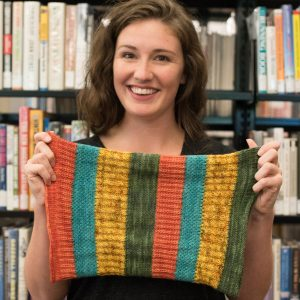 knitting at the library cowl