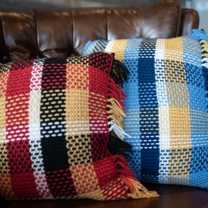 plaid pillows red blue